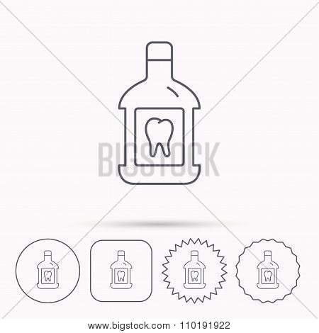 Mouthwash icon. Oral antibacterial liquid sign. Linear circle, square and star buttons with icons. poster