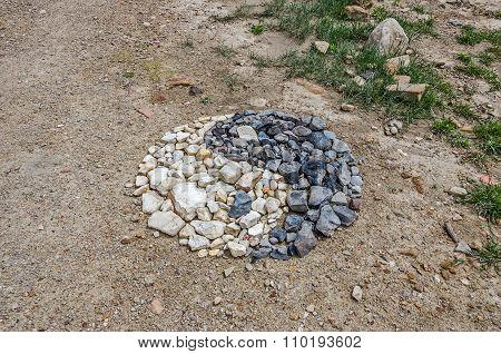 Yin And Yang Symbol Made Of Stones