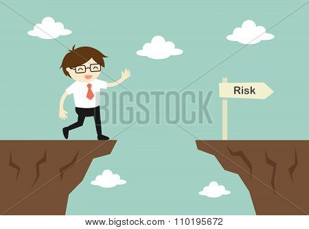 Business concept, businessman is careless while running in front of a gap. Vector illustration.