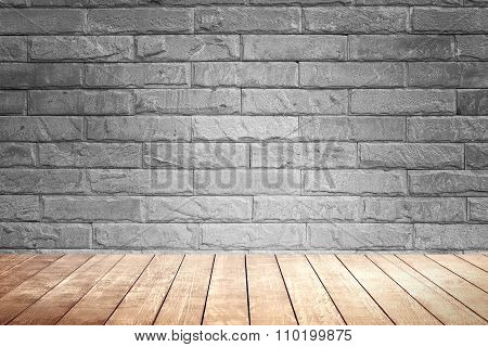 Blick Brown Wall Background And Wood Shelf.