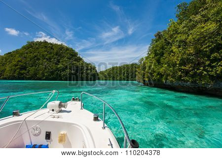 Exploring scenic lagoon of Palau is characterized by hundreds of limestone islands