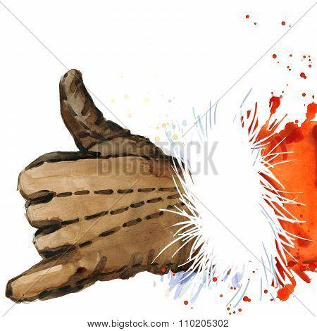 Watercolor Santa Claus. Santa Claus background. Santa Claus hand. Call me. Call me symbol. hand gest