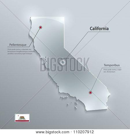 California map flag glass card paper 3D vector