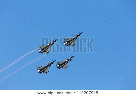 Nakhonratchasima, THAILAND November 27 , 2015 : F16 Gripen and August 1st Aerobatic team pilots