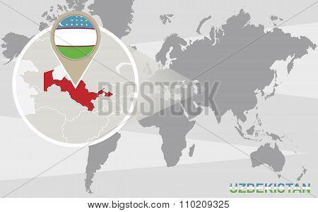 World Map With Magnified Uzbekistan