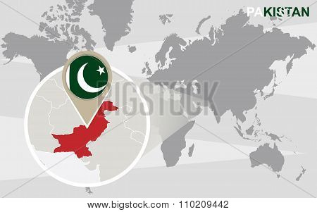 World Map With Magnified Pakistan