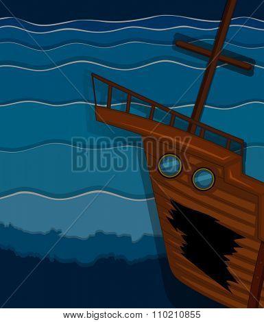 Shipwrecked under the ocean illustration