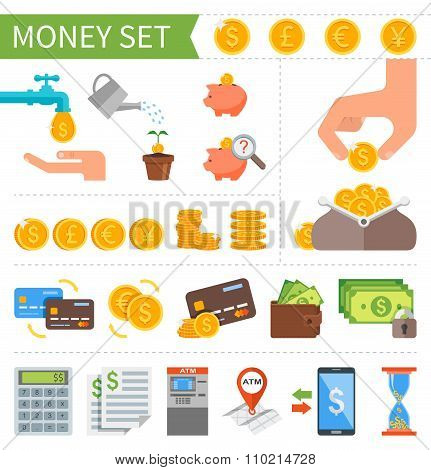 Vector set of Money and Finance icons in flat style. Design elements for web mobile applications.