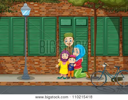 Muslim family on the sidewalk illustration