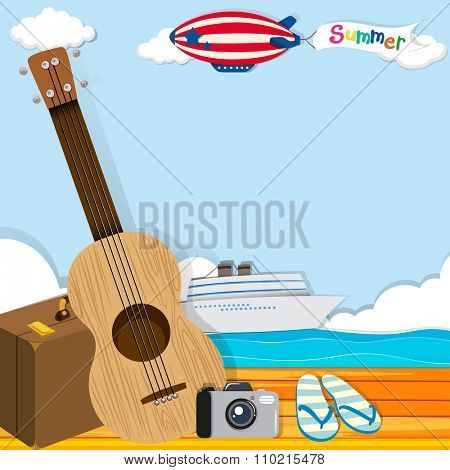 Summer theme with cruise and travel objects illustration poster