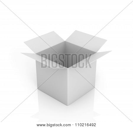 Open White Box On A White Background