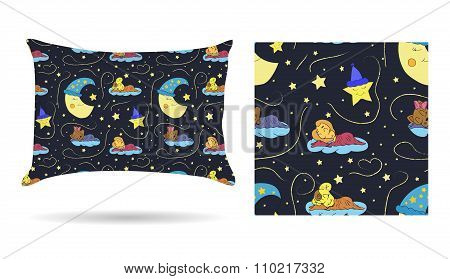 Cute Children Decorative Pillow With Patterned Pillowcase In Cartoon Style Children Are Sleeping On