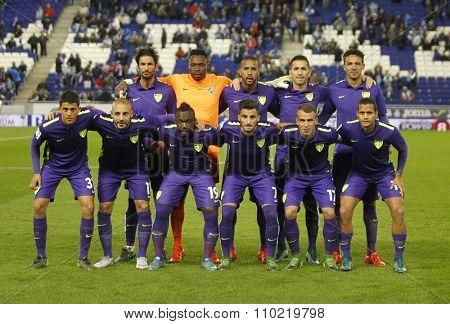 BARCELONA - NOV, 21: Malaga CF lineup posing before a Spanish League match against RCD Espanyol at the Power8 stadium on November 21 2015 in Barcelona Spain