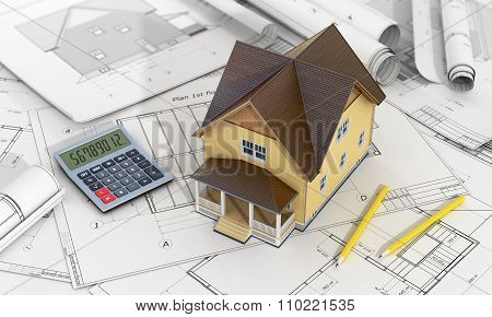 Concept Of Construction And Architect Design. 3D Render Of House With Calculator And Pencils