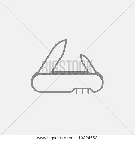 Jackknife line icon for web, mobile and infographics. Vector dark grey icon isolated on light grey background.