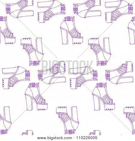 Trendy Doodle High Tick Heel Shoes With Platform