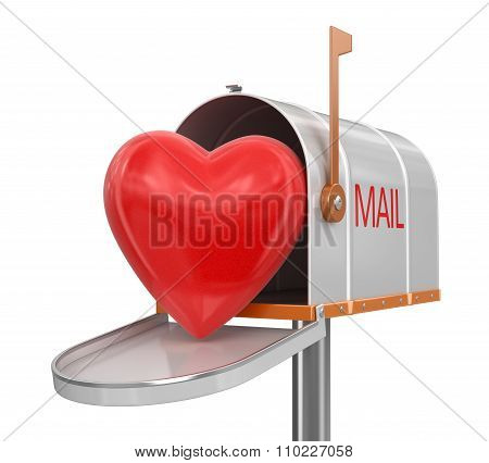 Open mailbox with heart (clipping path included)