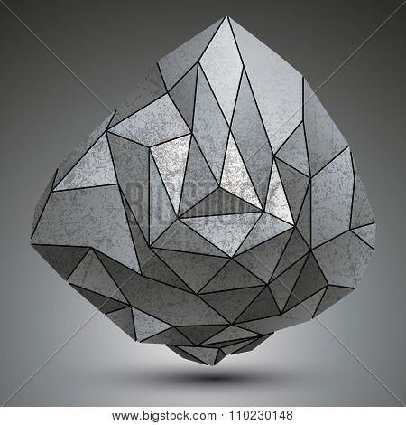 Grunge Metallic Dimensional Object Created From Geometric Figures, Futuristic Spatial Design Model.