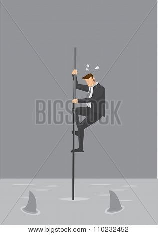 Businessman In Precarious Position Vector Illustration