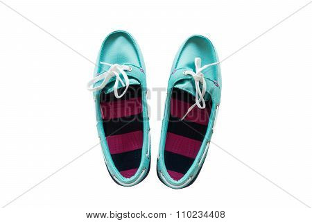 Blue Sky Sandals Isolated On White Background