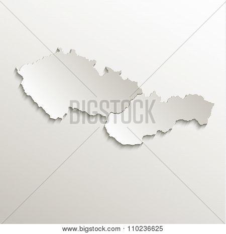 Czech Slovakia map card paper 3D natural raster Czechoslovakia separate maps
