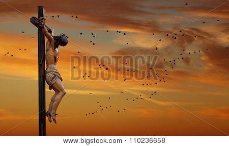 Jesus Christ Statue Against Evening Or Morning Sky Background