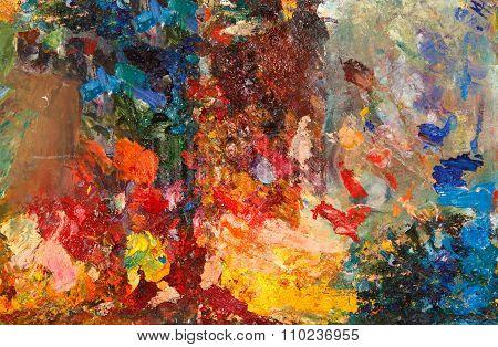 Closeup Of Colorful Oil Pallete