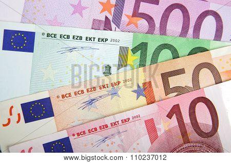 Close Up Of Euros Banknotes