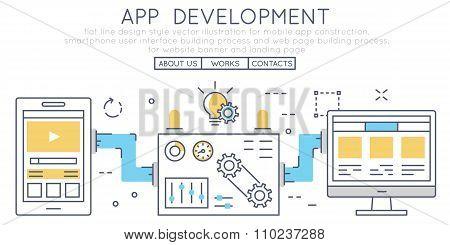 Flat Line Design Style Vector Illustration For Mobile App Construction