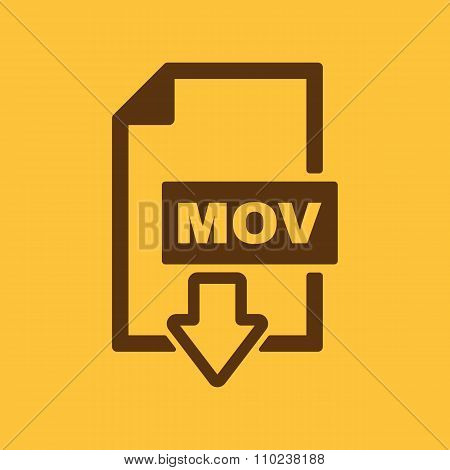 The MOV icon. Video file format symbol. Flat