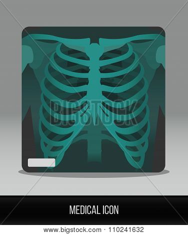 Medical icon. Vector flat icon x-ray of thorax. Anatomy. The human skeleton.
