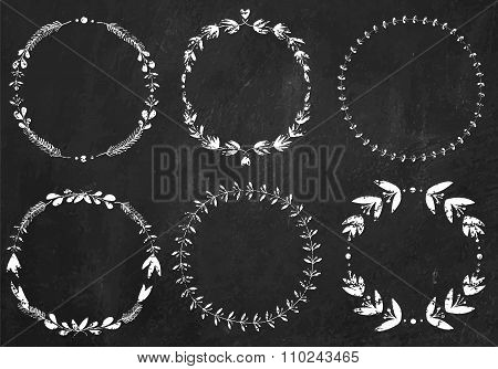 Collection of 6 hand-draw chalk vector victory laurel wreaths fo
