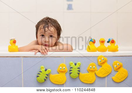 Adorable Little Boys In Bathtub With His Rubber Duckies