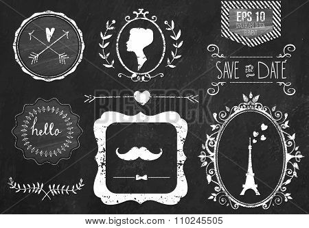 Retro chalk elements and icons set for retro design