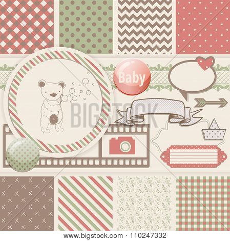 Vintage Design Elements for Scrapbook with seamless pattern and