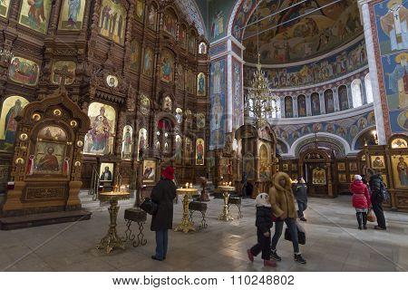 Nizhny Novgorod, Russia - 03.11.2015. The interior of Cathedral  St. Alexander Nevsky. 19th century