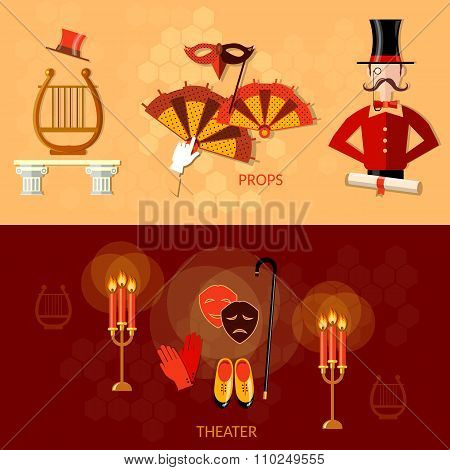 Theater Horizontal Banner Scenario Actors Masks Decorations Performance Compere