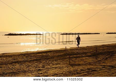 Jogging on seaside