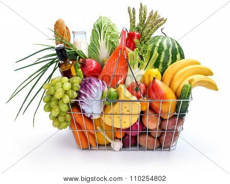 Many foods in basket