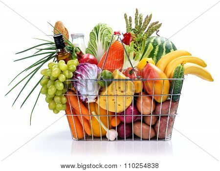 Metal basket with foods