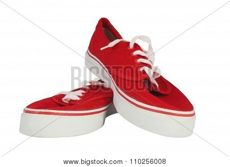 Sneakers Isolated On Black With Clipping Path