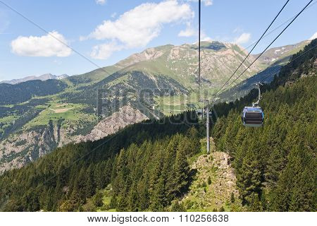 Mountains In Andorra And Cable Car
