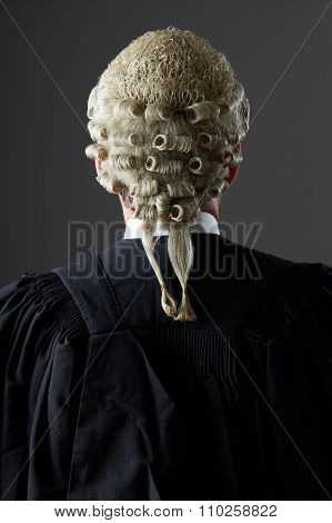 Barrister Wearing Wig And Gown From Behind