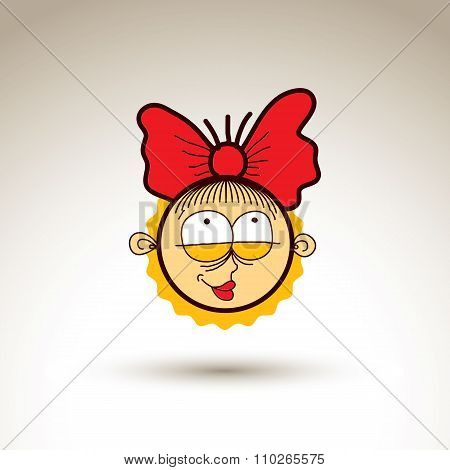 Vector Artistic Colorful Drawing Of Happy Girl With Beautiful Hairstyle, Social Network Design Eleme