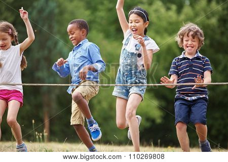 Children arriving to the finish line at a birthday party
