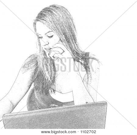 Pencil Sketch Helpdesk Girl 1