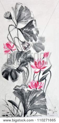 Lotus flower rice paper scroll