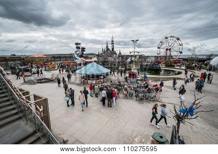WESTON-SUPER-MARE UK - SEPTEMBER 3 2015: View of the whole site at Banksy's Dismaland Bemusement Park. A five week show in the seaside town of Weston-Super-Mare.