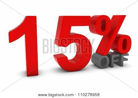 15% Off - Fifteen Percent Off 3D Text In Red And Grey