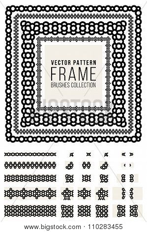 Vector Ornamental Decorative Frame Rounded Lines Pattern Brushes Set